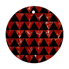Triangle2 Black Marble & Red Marble Round Ornament (two Sides) by trendistuff