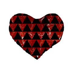 Triangle2 Black Marble & Red Marble Standard 16  Premium Flano Heart Shape Cushion  by trendistuff
