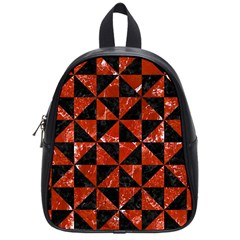 Triangle1 Black Marble & Red Marble School Bag (small) by trendistuff