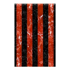 Stripes1 Black Marble & Red Marble Shower Curtain 48  X 72  (small) by trendistuff