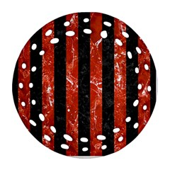 Stripes1 Black Marble & Red Marble Round Filigree Ornament (two Sides) by trendistuff