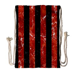 Stripes1 Black Marble & Red Marble Drawstring Bag (large) by trendistuff