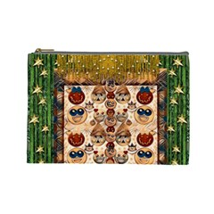 Festive Cartoons In Star Fall Cosmetic Bag (large)  by pepitasart