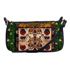 Festive Cartoons In Star Fall Shoulder Clutch Bags by pepitasart