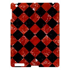 Square2 Black Marble & Red Marble Apple Ipad 3/4 Hardshell Case by trendistuff