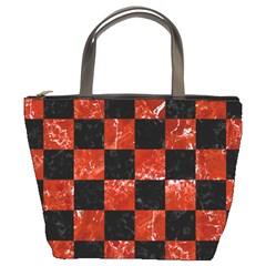 Square1 Black Marble & Red Marble Bucket Bag by trendistuff
