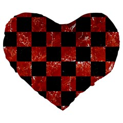 Square1 Black Marble & Red Marble Large 19  Premium Flano Heart Shape Cushion by trendistuff