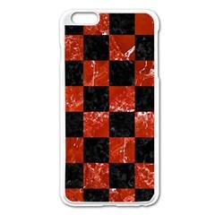 Square1 Black Marble & Red Marble Apple Iphone 6 Plus/6s Plus Enamel White Case by trendistuff