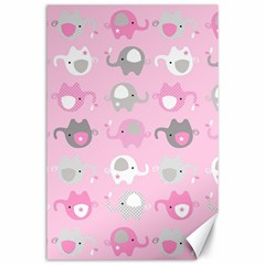 Animals Elephant Pink Cute Canvas 24  X 36  by Jojostore