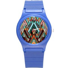 Abstract Mosaic Color Box Round Plastic Sport Watch (s) by Jojostore