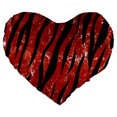Skin3 Black Marble & Red Marble (r) Large 19  Premium Flano Heart Shape Cushion by trendistuff