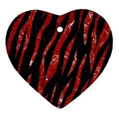 Skin3 Black Marble & Red Marble Heart Ornament (two Sides) by trendistuff