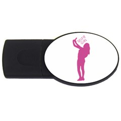 Selfie Girl Graphic Usb Flash Drive Oval (4 Gb)  by dflcprints