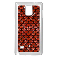 Scales3 Black Marble & Red Marble (r) Samsung Galaxy Note 4 Case (white) by trendistuff