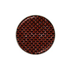 Scales3 Black Marble & Red Marble Hat Clip Ball Marker (10 Pack) by trendistuff