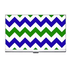 Blue And Green Chevron Pattern Business Card Holders by Jojostore