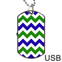 Blue And Green Chevron Pattern Dog Tag Usb Flash (one Side) by Jojostore