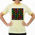 Pattern Background Colorful Design Women s Fitted Ringer T-Shirts