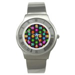 Pattern Background Colorful Design Stainless Steel Watch