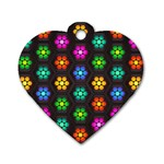 Pattern Background Colorful Design Dog Tag Heart (One Side)