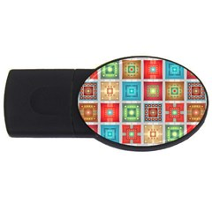 Tiles Pattern Background Colorful Usb Flash Drive Oval (2 Gb)  by Amaryn4rt