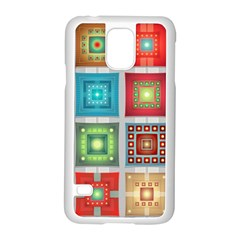 Tiles Pattern Background Colorful Samsung Galaxy S5 Case (white) by Amaryn4rt
