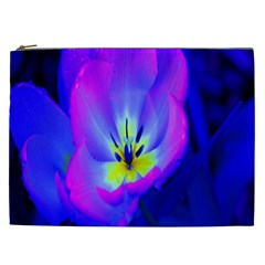 Blue And Purple Flowers Cosmetic Bag (xxl)  by Jojostore