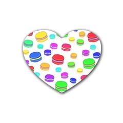 Macaroons Rubber Coaster (heart)  by Valentinaart