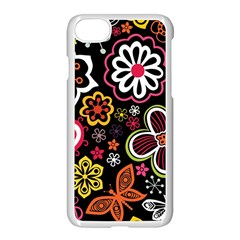 Flower Butterfly Apple Iphone 7 Seamless Case (white) by Jojostore