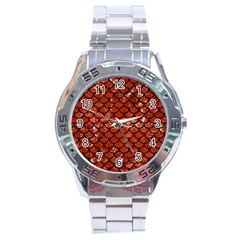 Scales1 Black Marble & Red Marble (r) Stainless Steel Analogue Watch by trendistuff
