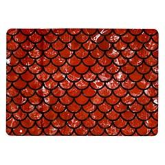 Scales1 Black Marble & Red Marble (r) Samsung Galaxy Tab 10 1  P7500 Flip Case by trendistuff