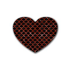 Scales1 Black Marble & Red Marble Rubber Coaster (heart) by trendistuff
