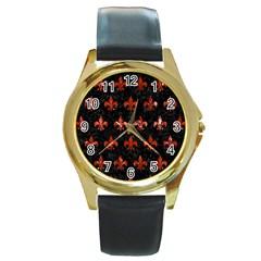 Royal1 Black Marble & Red Marble (r) Round Gold Metal Watch by trendistuff
