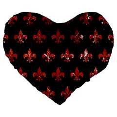 Royal1 Black Marble & Red Marble (r) Large 19  Premium Flano Heart Shape Cushion by trendistuff