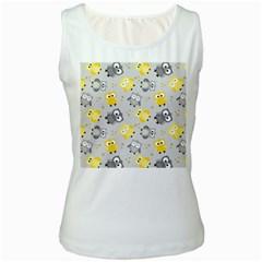 Owl Bird Yellow Animals Women s White Tank Top by Jojostore