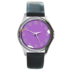 Purple Round Metal Watch by Jojostore
