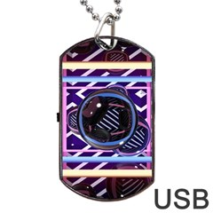Abstract Sphere Room 3d Design Dog Tag Usb Flash (one Side) by Amaryn4rt