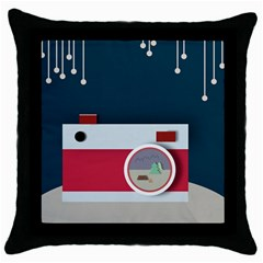 Camera Vector Illustration Throw Pillow Case (black)