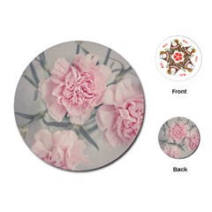 Cloves Flowers Pink Carnation Pink Playing Cards (round)  by Amaryn4rt