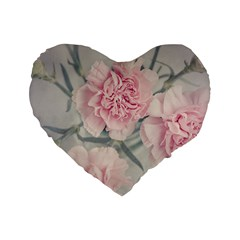 Cloves Flowers Pink Carnation Pink Standard 16  Premium Flano Heart Shape Cushions by Amaryn4rt