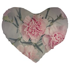 Cloves Flowers Pink Carnation Pink Large 19  Premium Flano Heart Shape Cushions by Amaryn4rt