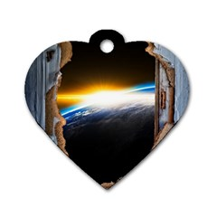 Door Breakthrough Door Sunburst Dog Tag Heart (one Side) by Amaryn4rt