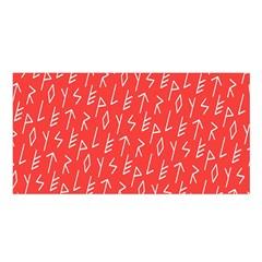 Red Alphabet Satin Shawl by Jojostore