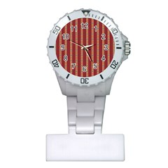 Pattern Background Red Stripes Plastic Nurses Watch