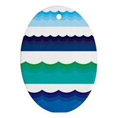 Water Border Water Waves Ocean Sea Ornament (oval)