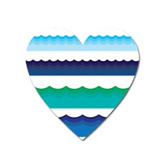 Water Border Water Waves Ocean Sea Heart Magnet by Amaryn4rt