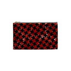 Houndstooth2 Black Marble & Red Marble Cosmetic Bag (small) by trendistuff