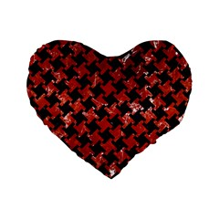 Houndstooth2 Black Marble & Red Marble Standard 16  Premium Heart Shape Cushion  by trendistuff