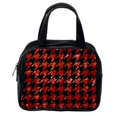 Houndstooth1 Black Marble & Red Marble Classic Handbag (one Side) by trendistuff