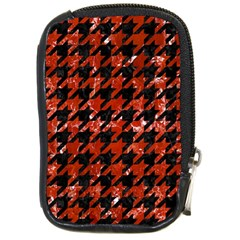 Houndstooth1 Black Marble & Red Marble Compact Camera Leather Case